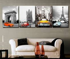 black and white modern minimalist car home decor mural paintings