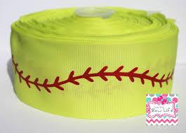 softball ribbon softball stitches 3 inch softball yellow grosgrain ribbon 5 yards