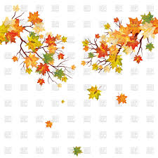 autumn maple tree branch with falling leaves vector clipart image