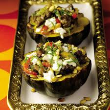 fieri s roasted acorn squash with turkey sausage peppers and