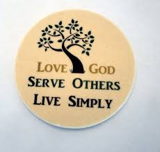 love god serve others live simply coasters