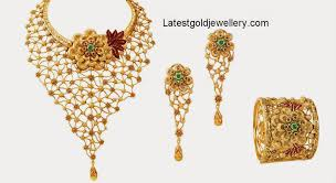 gold flowers necklace images Fancy gold floral necklace with web design latest gold jewellery jpg