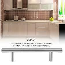 barre inox cuisine 20pcs poignée t barre meuble en acier inox porte tiroir cuisine