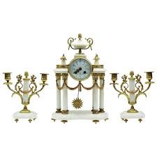 Large Silver Mantel Clock Napoleon Iii White Marble And Ormolu Mantel Clock Set Garniture
