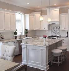 Kitchen Ideas With White Cabinets Traditional White Cabinets Grey Granite Subway Backsplash