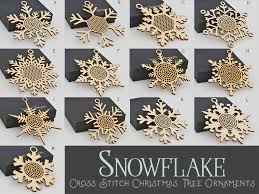 snowflake cross stitch tree ornament bs0s wayvdesigns