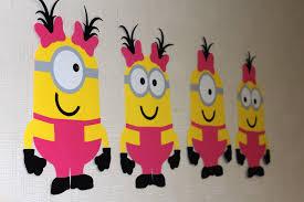 Minion Girls Figures wall decor for birthday party Custom