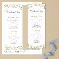 tea length wedding programs printable wedding program template instant gold dots
