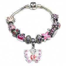 Customized Heart Necklace Shiny Pink Bracelet Butterfly Pendant Women Jewelry