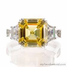 faux engagement rings cubic zirconia canary asscher cut engagement ring my faux