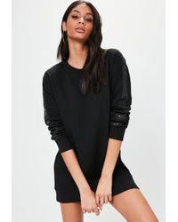 missguided londunn navy cowl neck hooded sweater dress in blue