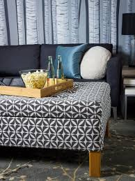 Using An Ottoman As A Coffee Table Turn An Coffee Table Into An Upholstered Storage Ottoman Hgtv