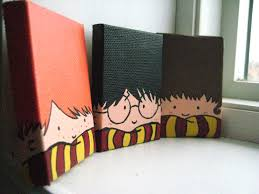 painted harry potter trio magnets by rectangles11 on etsy 16 00