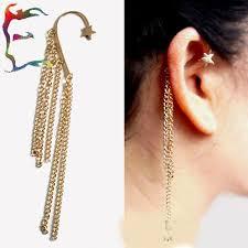 cuff earrings with chain online shop wholesale fashion rock tassel gold ear cuff