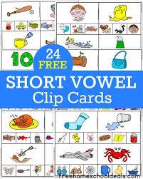 free short vowel clip cards 24 pack instant download short
