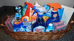 housewarming gift idea cleaning supply gift basket for