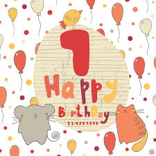 cute hand drawn doodle happy birthday card stock vector image