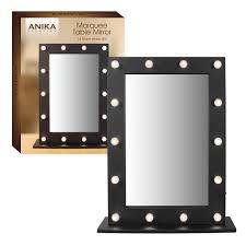 anika battery operated free standing led marquee mirror black