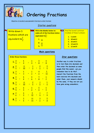 comparing and ordering fractions and mixed numbers worksheet ordering fractions by bcooper87 teaching resources tes
