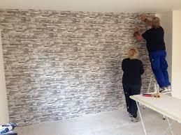 steinmauer wohnzimmer haus renovierung mit modernem innenarchitektur kühles fototapete