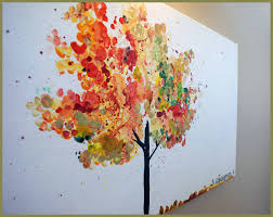 Fall Tree Decorations Colorful Fall Oil Painting Of Tree Miniature Autumn Landscape Red