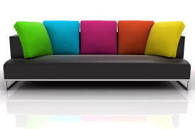 Color Sofa Decorating With Fabric