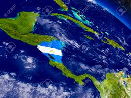Flag Nicaragua Flag Of Nicaragua On Planet Surface From Space 3d Illustration