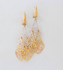 cercei de aur cercei din aur de 14 k cu dantela bicolora