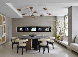 colorful modern dining room white wood wall rounded motive