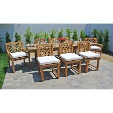 teak patio table with leaf 9 pc monterey teak outdoor patio furniture dining set with expansion