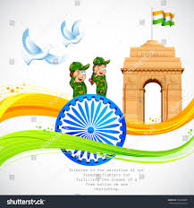 Indian Flag Standard Size Illustration India Gate Ashok Chakra Wavy Stock Vektorgrafik