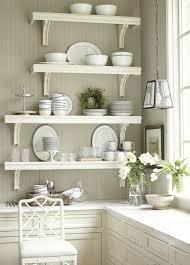 corner white wall mounted kitchen shelves over l shaped base