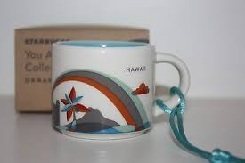 mug ornament new 2013 starbucks hawaii you are here 2oz ceramic coffee mug