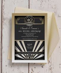 great gatsby wedding invitations 1920s deco 40th ruby wedding anniversary invitation from