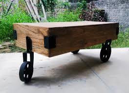 industrial wheels coffee table kayyon