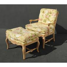 French Yellow Chair French Country Yellow Floral Accent Chair U0026 Ottoman Chairish