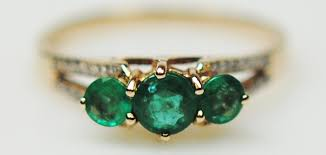 emerald rings uk emerald and diamond 9 carat yellow gold ring a53 4000 04