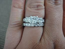 stone bands rings images Can i see your 3 stone e rings with your wedding bands JPG