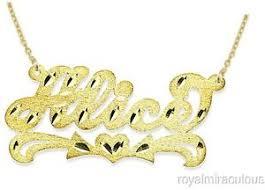 Nameplate Necklaces Personalized Satin Finish Diamond Cut Nameplate Necklace 14k