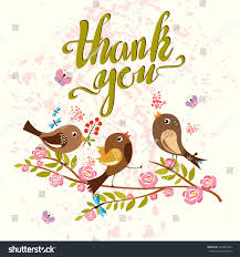 birds thanksgiving card thank you stock illustration