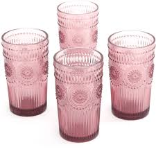 the pioneer adeline 16 ounce emboss glass tumblers set of 4