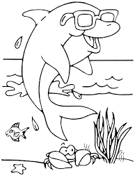 dolphin with glasses animal coloring pages for kids to print u0026 color