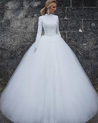 wedding dresses high 2018 white wedding dresses sleeve high neck lace tulle