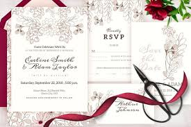 wedding invitation set floral wedding invitation set invitation templates creative market