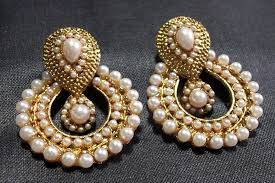 artificial earrings online buy white pearl polki earrings online