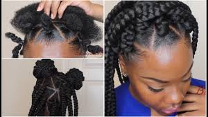Hairstyles With Jumbo Braiding Hair How To Jumbo Box Braids W Triangle Parts Rubberband Method Easy