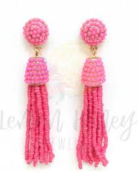 gold dangle earrings pre black friday special beaded tassel earrings pink gold