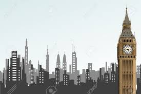 cityscape backdrop illustration opf big ben tower on cityscape backdrop royalty free