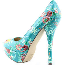 breckelle u0027s angie 47 aqua patent floral round toe pumps
