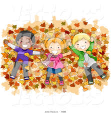 vector of happy cartoon kids laying on a pile of autumn leaves by